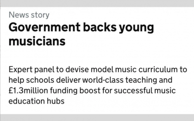 An open letter to the DfE regarding their proposals for a model music curriculum