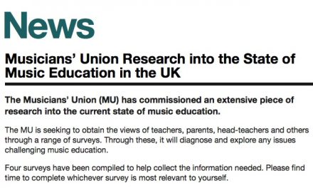 Please help UCan Play and the Musicians' Union explore what music education looks like today